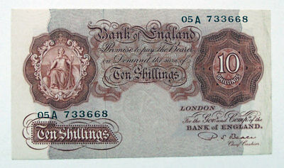 TEN SHILLING BANK OF ENGLAND BANK NOTE, Replacement Note 05A 733668 • 59£