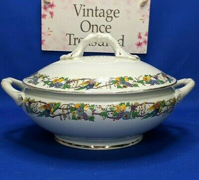 A G Harley Jones WILTON WARE 1920s Covered Serving Dish Tureen * Parrot & Fruits • 9.90£