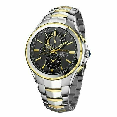 $ CDN382.71 • Buy Seiko Men's Solar Coutura Perpetual Chronograph Two Tone Watch SSC376