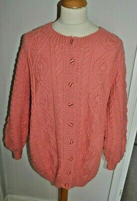 New  Ladies Pink Aran  Hand Knitted Cable Button Up Cardigan In  Pink Size Xl • 36£