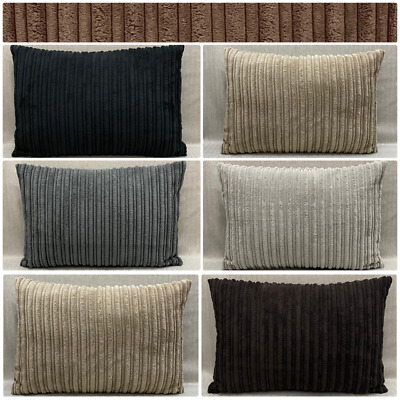 £0.99 • Buy Quality Handmade Soft Striped Jumbo Cord Rectangle Cushion Covers In ManyColours