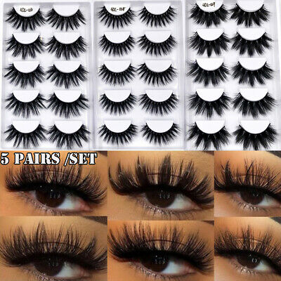 5 Pair 4D Faux Mink Hair False Eyelashes Full Volume Thick Fluffy Wispies Lashes • 3.96£