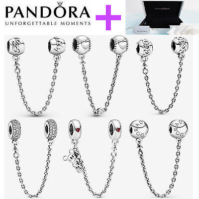 AU26.24 • Buy NEW Genuine Silver Pandora Logo Safety Chain Charm ALE S925 & With Gift Box