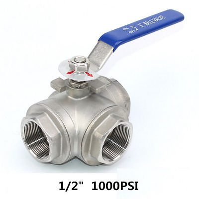 AU29.32 • Buy 1/2  3 Way Ball Valve Three T Port NPT Stainless Steel 316 1000PSI Water Oil Gas