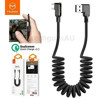 AU10.49 • Buy MCDODO Retractable Nylon Logo Coiled Type-C QC Fast Charge Cable Samsung Huawei
