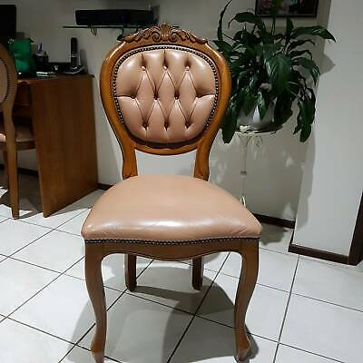 AU1200 • Buy Antique Leather Dining Chairs - Set Of 8