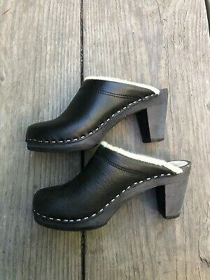 $42 • Buy Maguba Black Mule Swedish Clogs With Wool Lining Size 36 6