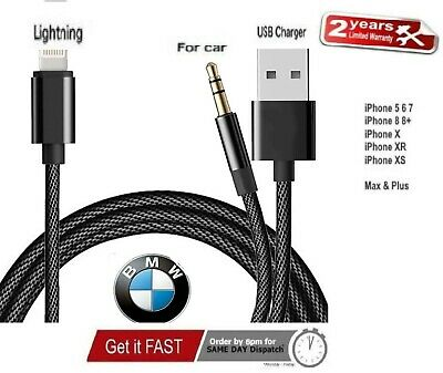 BMW Mini IPod IPhone X XR XS Max 8 7 Plus Interface Audio USB Cable AUX Adapter • 10.99£