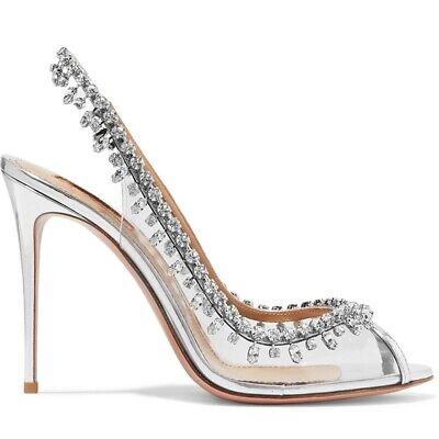 Silver Cinderella Wedding Party Diamond Pumps Crystal High Heels Shoes AXLX002 • 69.99£