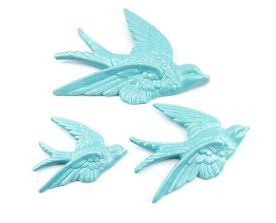 £8.25 • Buy 3 Flying Swallows Wall Art Sculptures Vintage Retro Duck Egg Blue Decoration