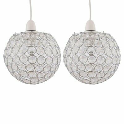 Set Of 2 Modern Jewelled Globe Ceiling Light Shades Pendants • 16.99£