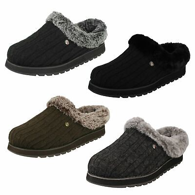 Ladies Skechers Memory Foam Slip On Textile Comfort Slippers Ice Angel • 39£