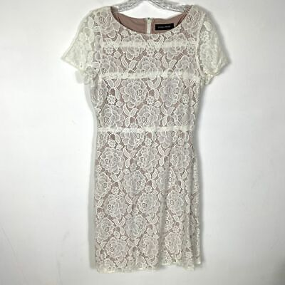 $ CDN58.41 • Buy Ivanka Trump 10 Floral Overlay Lace Dress Ivory White Bridal Wedding Party Lined