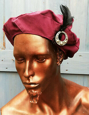 Custom-made Cotton Medieval Hat /feather Trim In Wine Red-cosplay/theatre/LARP  • 15£