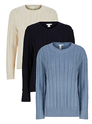 £9.95 • Buy New Ex H&M LOGG Ladies Ribbed Winter Cable Jumper 3 Colours Sizes XS-XL