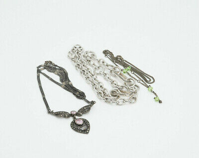 $ CDN190.31 • Buy LOT Of 3 Sterling Silver Colored Crystal Marcasite Link Necklaces, 53.1g