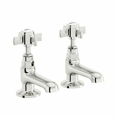 £19.50 • Buy  Pair Taps Twin Tap Kitchen Basin Sink Hot And Cold Chrome Bathroom Brass Faucet