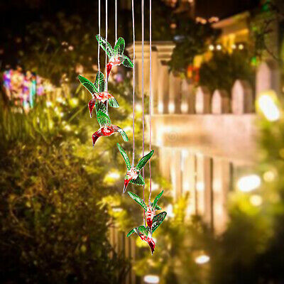 Solar Powered Hummingbird Wind Chime Light Color-Changing Garden Hanging Lamp • 8.98£
