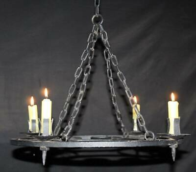 Vintage Chandelier  Wrought Iron Candle Holding Ceiling Light (dc8) • 125£