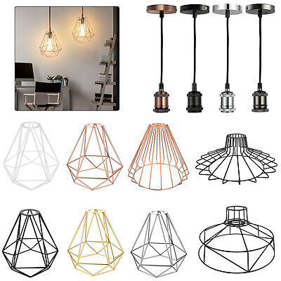 Industrial Geometric Light Shade Wire Frame Ceiling Pendant Lightshade Lampshade • 12.99£