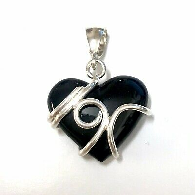 £45 • Buy Whitby Jet And 925 Sterling Silver Pendant Drop Heart