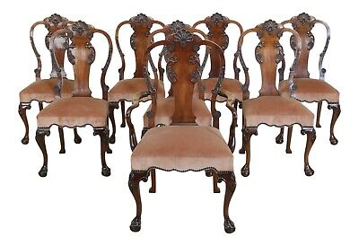 $3295 • Buy L50603EC: Set Of 8 SMITH & WATSON Georgian Carved Mahogany Dining Room Chairs