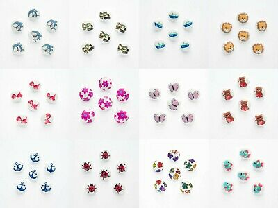 Children's Buttons 15mm X Set Of 6 Shank Backs Picture Buttons In 20 Designs • 1.75£
