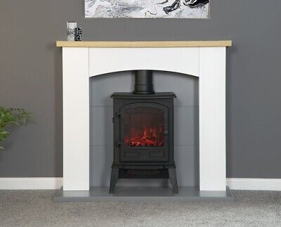 £344.95 • Buy Electric Fire Stove Oak White Mantle Grey Fireplace Logs Surround Suite Bnib