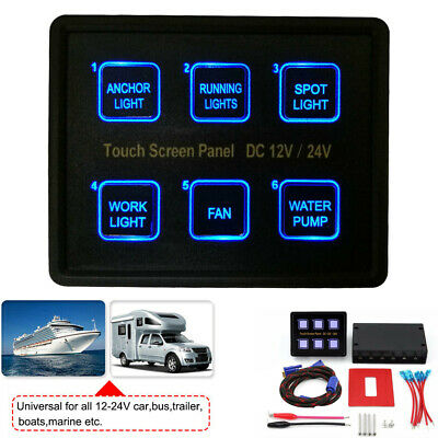 AU60.99 • Buy 6 Gang Switch Panel LED Touch Screen Circuit Control Box For Marine Boat Caravan