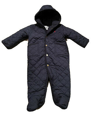 £19.60 • Buy Ralph Lauren Baby Boy Footed Quilted Snowsuit Ski Suit Bunting Blue 9 Months EUC