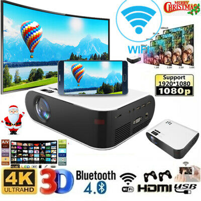 AU159.89 • Buy Bluetooth 1080P HD Android WiFi 3D Mini  Projector Home Theatre Cinema HDMI USB
