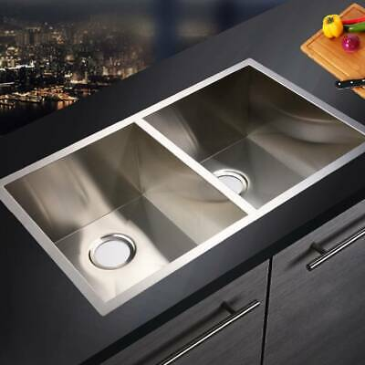 Large Stainless Steel Kitchen Sink Double Deep Washing Dish Food Bowl + Drainer • 143.16£