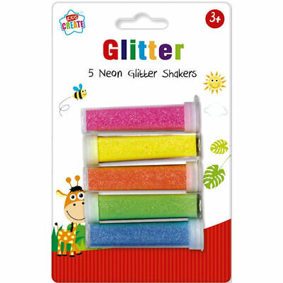 5 Neon Glitter Shakers - Bright Crafts Kids Create Colours Arts Childrens Fun  • 2.49£