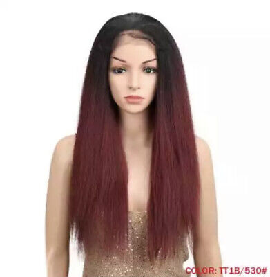 """£44.99 • Buy Lace Front Yaki Synthetic Wig Ombre Black To Burgundy 26"""" Womens Hair"""