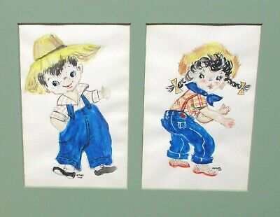 $ CDN126.06 • Buy Esther Country Girl And Boy Farmers In Blue Jeans Watercolor Painting 1955
