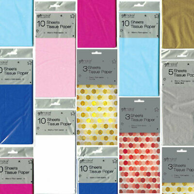 Tissue Paper - Brightly Coloured Sheets Metallic Baby Foil Polka Quality Reuse • 2.49£