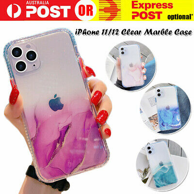 AU8.95 • Buy Marble Case Cover For IPhone 12 11 Pro Max Mini Shockproof Slim Fit Glitter Soft