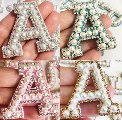 £1.49 • Buy Pearl Letter Patches Rhinestone Sparkle Alphabet Embroidery Sew On Iron On A-Z