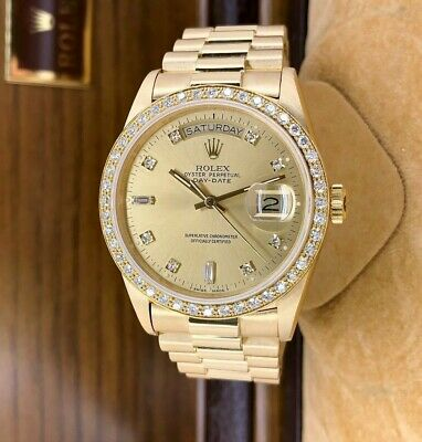 $ CDN23578.19 • Buy Rolex Day Date President 18K Yellow Gold 36mm Watch 18038 Factory Dial And Bezel