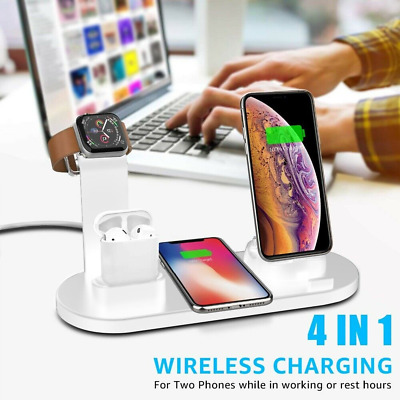 £13.99 • Buy Wireless Charging Station Dock 4in1 Charger Stand For AirPods Apple Watch IPhone