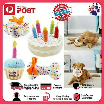 AU15.33 • Buy Pet Cat Dog Toy Plush Birthday Cake Bite Resistant Squeaky Cupcake Stuffed Soft