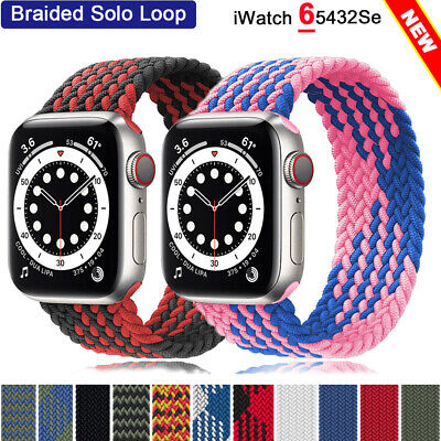 $ CDN6.16 • Buy Nylon Braided Solo Loop Strap For Apple Watch Band SE 6 5 4 3 38mm 40mm 42 44mm