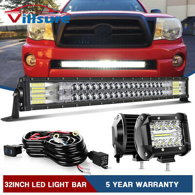 $71.98 • Buy For 05-15 TOYOTA Tacoma Bumper Hidden Grille 32  IN LED Light Bar +4  Pods +Wire