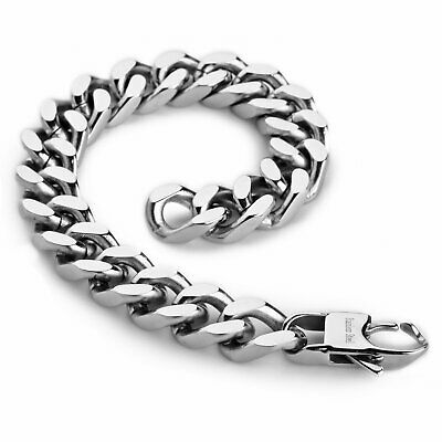 12mm Men's Silver Stainless Steel Biker Curb Chain Link Bangle Bracelet 8.5  • 10.79£