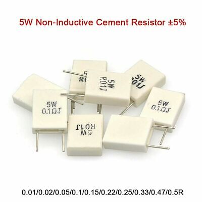 $1.98 • Buy 5W Non-Inductive Cement Resistor ±5% Values Of 0.01Ohm-0.5Ohm Ceramic Resistor