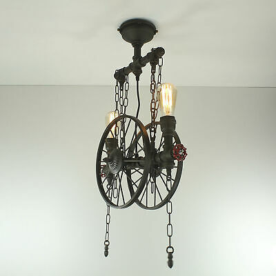 Vintage Wagon Cartwheel Chandelier Pendant Light Metal Water Pipe Steampunk • 89.99£