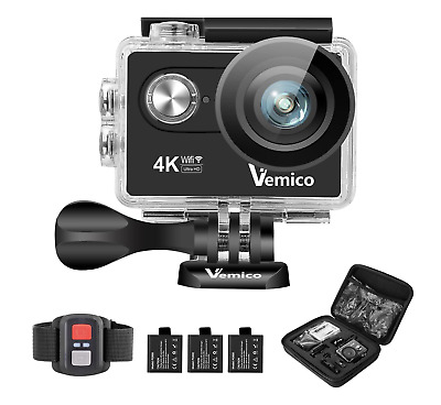 Sports Action Camera 4K Wifi Vemico Waterproof Cam Full HD 1080P Underwater 16MP • 39.99£