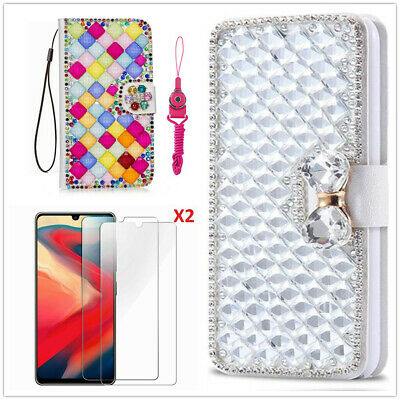 AU16.73 • Buy Diamonds Leather Wallet Stand Flip Phone Cases Tempered Films & Lanyard For Sony