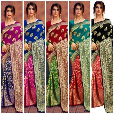 Bollywood Banarasi Silk Sari Party Indian Ethnic Wedding Designer Bridal Sari KP • 17.99£