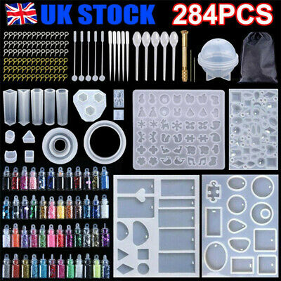 £7.99 • Buy 284PCS Resin Casting Molds Silicone DIY Jewelry Pendant Mould Making Craft Kit